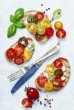 Tomato and basil sandwiches Royalty Free Stock Photo