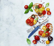 Tomato and basil sandwiches Royalty Free Stock Image