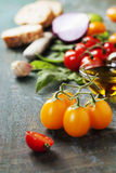 Tomato and basil sandwiches with ingredients Stock Photography