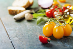 Tomato and basil sandwiches with ingredients Royalty Free Stock Image
