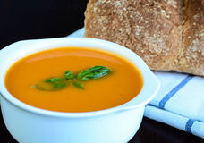 Tomato and Basil Soup. Tomato soup in a bowl with healthy and fresh ingredients and herbs Stock Photo