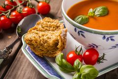Tomato basil soup close-up Royalty Free Stock Images