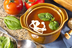 Tomato Basil Soup Stock Photo