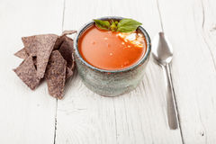 Tomato basil soup with tortilla chips Stock Image