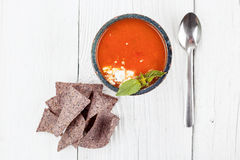 Tomato basil soup with tortilla chips Stock Photography