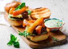 Tomato-Basil Turkey Burgers.style rustic. Selective focus Royalty Free Stock Images