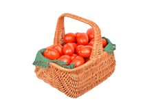 Tomato in basket Royalty Free Stock Photos