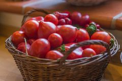Tomato basket ,kitchen vegetable, dof royalty free stock photos