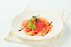Tomato and beef Carpaccio Royalty Free Stock Photo