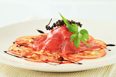 Tomato and beef Carpaccio Royalty Free Stock Photo