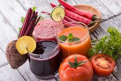 Tomato, Beet, and Red Chili Pepper Juice Royalty Free Stock Photography