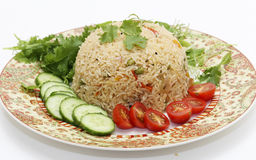 Tomato biryani and salad Stock Photos