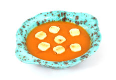 Tomato Bisque and Crackers Overhead View Royalty Free Stock Images