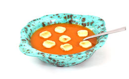 Tomato Bisque Crackers and Spoon Stock Photos