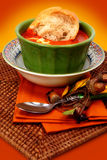 Tomato Bisque Soup and Baguette Bread Royalty Free Stock Photography