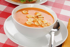 Tomato bisque soup with crackers Stock Image