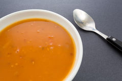 Tomato bisque soup with shrimp Royalty Free Stock Photo