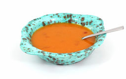 Tomato Bisque and Spoon Stock Photo