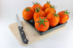 Tomato in black dish on wood chopping block with knife white bac Royalty Free Stock Image
