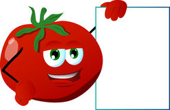 Tomato with blank board Royalty Free Stock Image