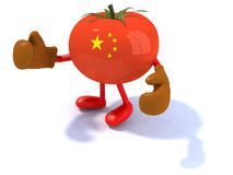 Tomato with boxing gloves and Chinese flag Royalty Free Stock Images