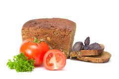 Tomato with bread. On a white background Stock Image