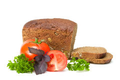 Tomato with bread. Tomatoes with bread and parsley on a white background Stock Photo
