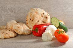 Tomato, Bread, Cocumber, Onions And Paprika Stock Images