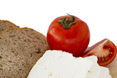 Tomato bread and cottage cheese Stock Images