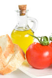 Tomato Bread and Olive Oil Royalty Free Stock Images