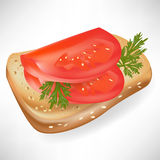 Tomato on bread slice i Royalty Free Stock Images