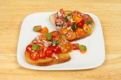 Bruschetta on a tabletop Royalty Free Stock Images