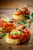 Tomato bruschetta topped with olive and basil Stock Photos