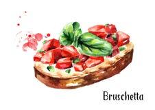 Tomato bruschetta. Watercolor hand drawn illustration, isolated on white background Stock Photos
