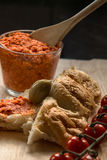 Tomato butter with flatbread Stock Image
