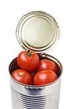 Tomato can. Rust free can of small tomatoes Royalty Free Stock Photo