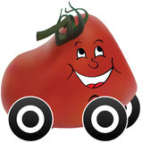 Tomato car. Happy tomato car isolated on white Stock Images