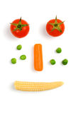 Tomato, carrot, green peas and baby corn royalty free stock photography