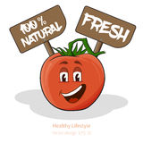 Tomato with cartoon look with face, signs Stock Photos
