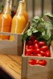 Tomato celery, juice on market. Sale Stock Photography