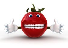 Tomato Character isolated. 3d rendering of a funny tomato character isolated on white background Royalty Free Stock Photo
