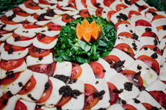 Tomato and cheese apetizer Royalty Free Stock Photos