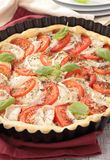 Tomato,cheese and basil tart Royalty Free Stock Photography