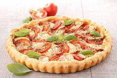 Tomato,cheese and basil tart Stock Image