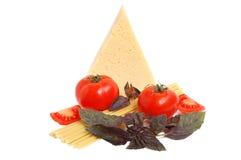 Tomato, cheese, macaroni and basil Stock Photo