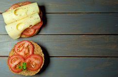 Tomato and cheese sandwich with copy space Royalty Free Stock Photography
