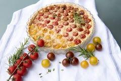 Tomato cheese tart stock image