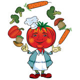 Tomato chef juggles vegetables. Cartoon chef in the appearance of the tomato is juggling vegetables Royalty Free Stock Photos