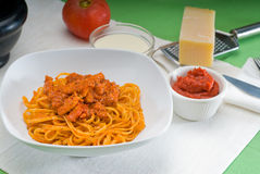 Tomato and chicken pasta Royalty Free Stock Photos