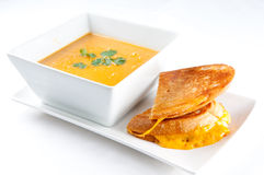 Tomato and chickpea soup with grilled cheese Stock Photography